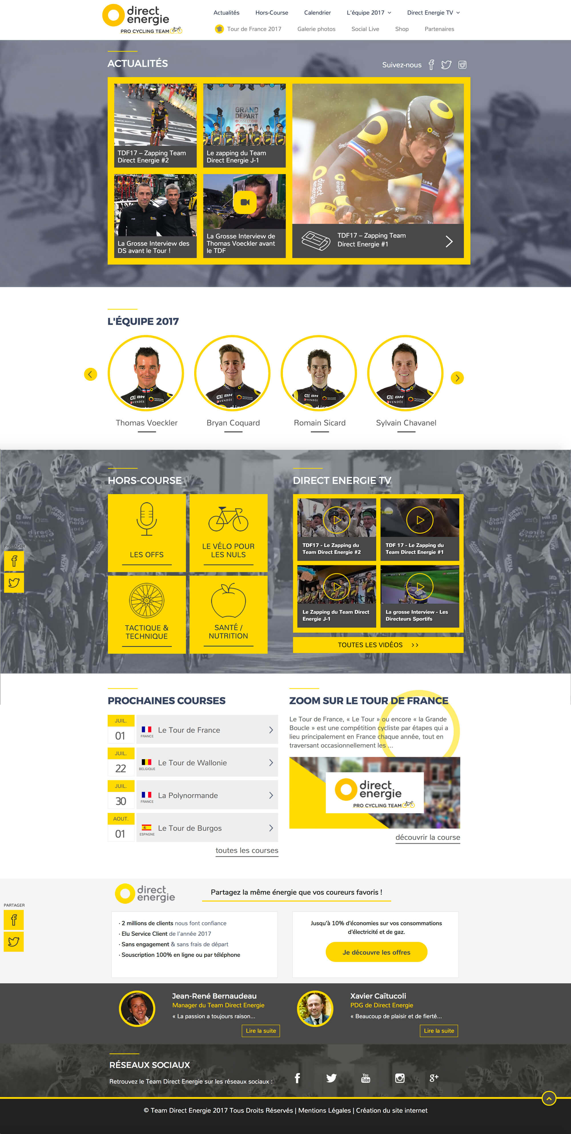 Page d'accueil du site web responsive sur-mesure du Team Direct Energie