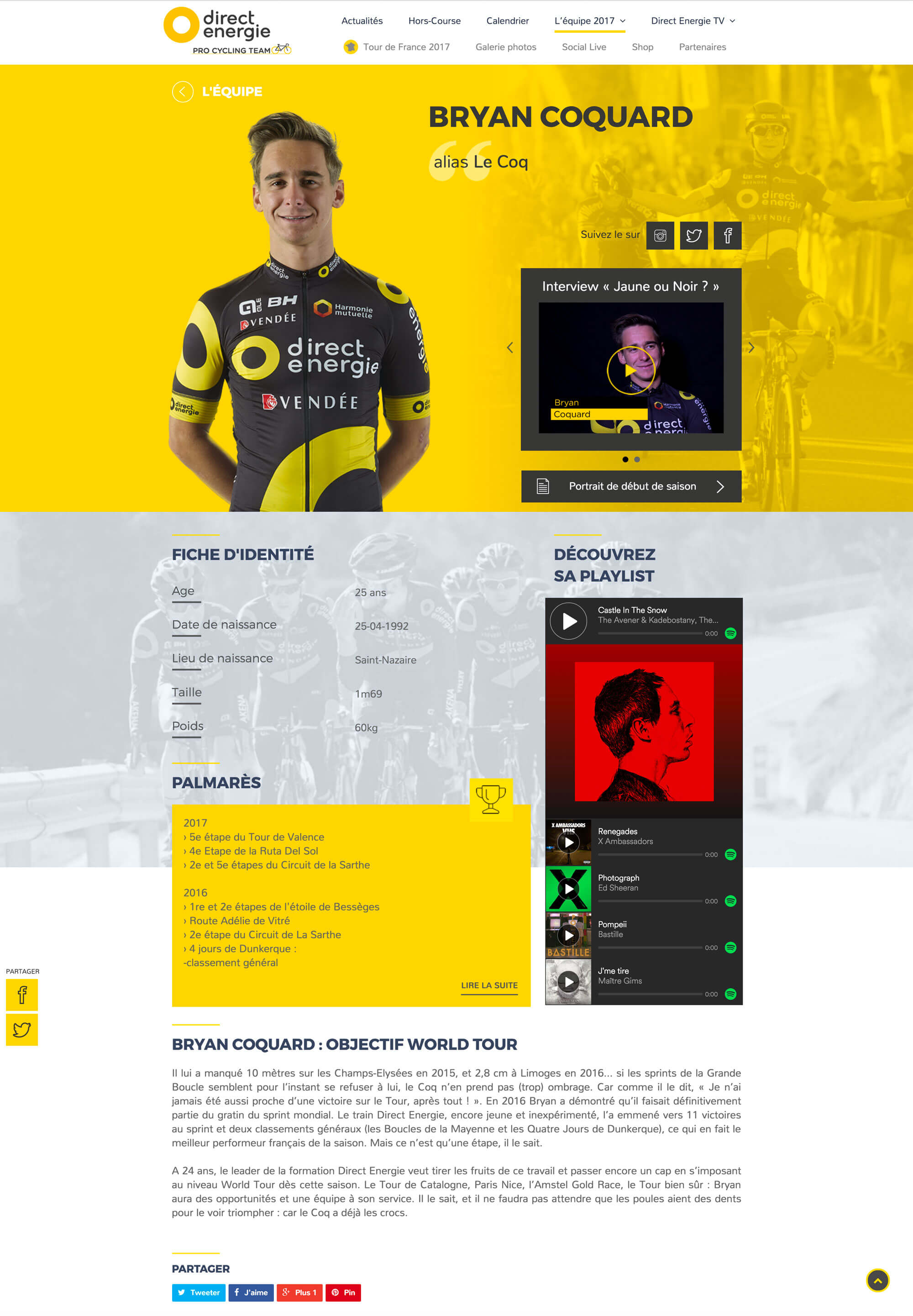 Page interne du site web responsive sur-mesure du Team Direct Energie